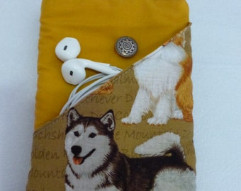Ipod/Phone Carry Pouch - Script Dogs.  Mustard lining.  Printed feature pocket for ear phones etc.  Button and loop closure.
