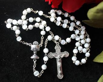 Vintage White Eucharist Rosary #284