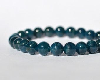 8mm Brazilian Blue Apatite, Gemstone Stretch Bracelet