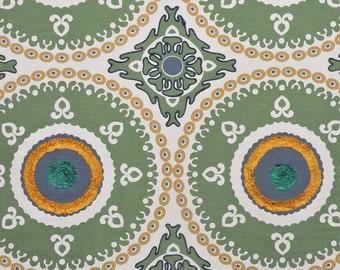 DESIGNER ETHNIC Chic SUZANI Medallions Fabric 10 Yards Green Blue Gold
