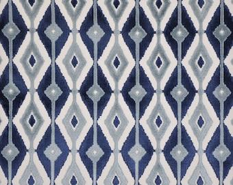 DESIGNER BLAINE SOUTHWEST Ikat Kilim Cut Velvet Fabric 10 Yards Indigo Blue Slate