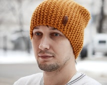 Slouchy Hat / Men's Hat Beanie / Knit Hat for Men / Knit Beanie /  Wool Blend Hat / Handmade Knitted Hat / Ocher Hat / Beanie
