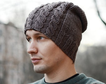 Slouchy Hand Knit Hat / Mens Knit Hat / Knitted Mens Hat / Knit Beanie / Handmade Knitted Hat / Cable Hat / Beanie / Mens Knit Cable Hat