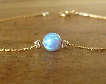 Blue opal bracelet, opal bracelet, opal bead bracelet, opal gold, gold bracelet, opal jewelry, minimalist bracelet, ball bracelet, dot chain