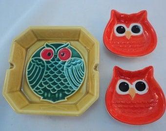 Set of 3 Vintage Mid Century Ceramic Owl Ashtrays