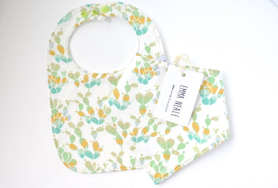 New Trendy Baby Fullmoon Gift Pack : Two bib set in cactus print trendy new baby gift one
