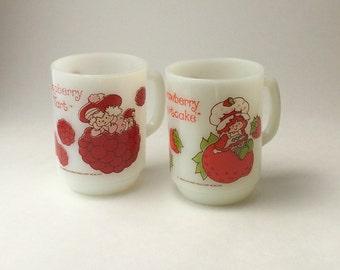 Strawberry Shortcake & Raspberry Tart Milk Glass Mugs, Anchor Hocking Milk Glass Mug, Strawberry Shortcake Mug, Raspberry Tart Mug