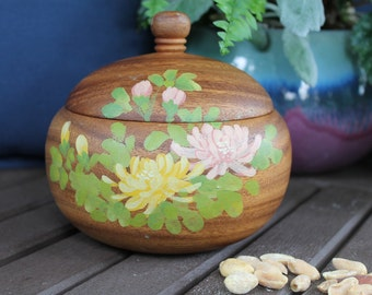 Vintage Lidded Wood Bowl