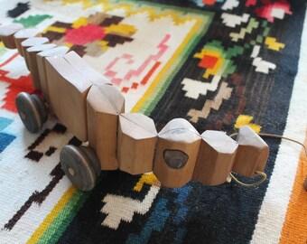 Vintage Wood Alligator Pull Toy