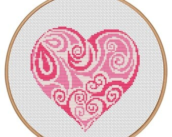 MORE for FREE - Love Heart Pink - Counted Cross stitch pattern PDF-Instant Download-Cross Stitch Pattern-Valentine-Love-Needlepoint #1459