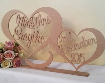 Free Standing unpainted RAW MDF personalised custom Mr & Mrs surname and date wedding sign