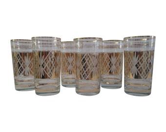 Gold Diamond Cut Glass Highball Glasses, S/6