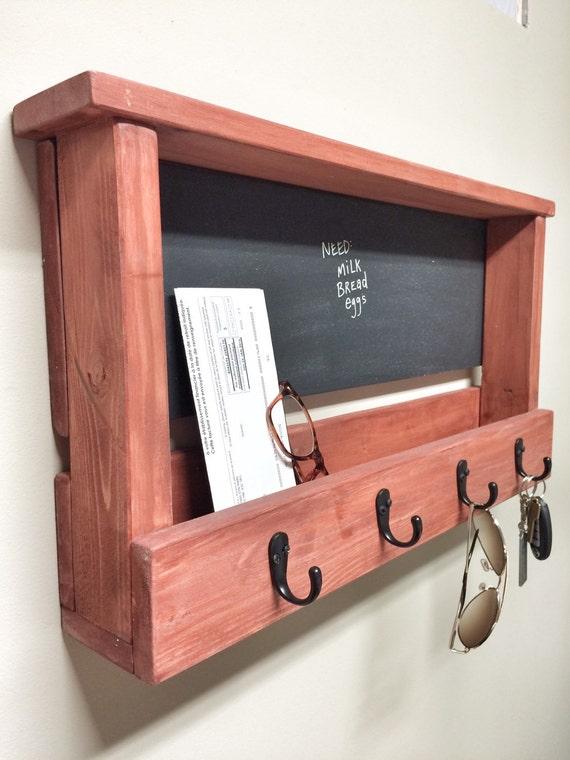 Rustic Wooden Key Chain Chalkboard Picture Frame Hooks