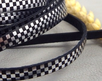 leather flat 5mm printed silver and black checkerboard Italian by 20 cm