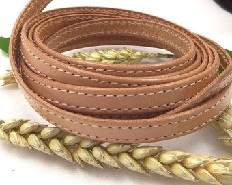 Leather flat natural 10mm with double seam by 1 metre (1.09 yard, 3.28 foot)
