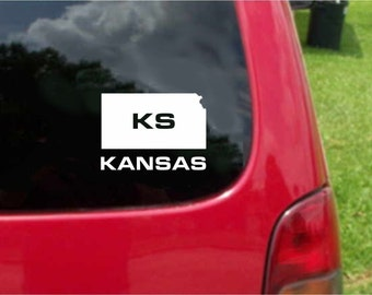 2 Pieces Kansas KS State USA Outline Map Stickers Decals 20 Colors To Choose From.  U.S.A Free Shipping