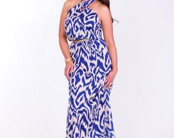 Blue cream animal print maxi dress