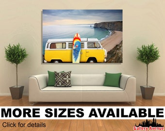 Wall Art Giclee Canvas Picture Print Gallery Wrap Ready to Hang - Van and surf board at a beach - Huge 60'' x 40'', 48'' x 32'' or 36''x24''