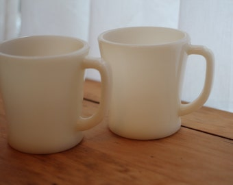 Fire-King Milk Glass Mugs, pair