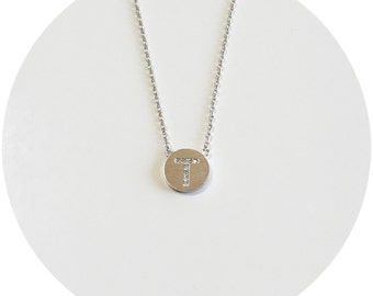 Initial on Coin Necklace - Silver