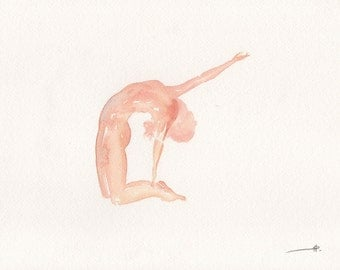 Ustrasana | Camel pose | Yoga | Watercolour painting| Giclee Print