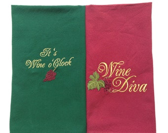 Kitchen Towels with Wine Theme REDUCED