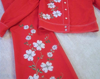 OOAK child's matching jacket and pants from the 1970s/Handmade original appliques and embroidery/Dogwood design/Vintage clothing from 1970