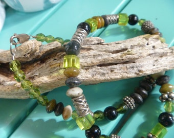 Green, black and silver beaded necklace