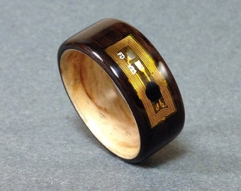 Ebony Bentwood Smart Ring, NFC/RFID Inlay, Birch Liner