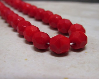 Red Opaque Faceted Round Czech Glass Beads - 7mm - 25 Pieces