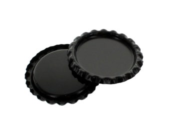100 Caps - Flattened Black Bottle Caps