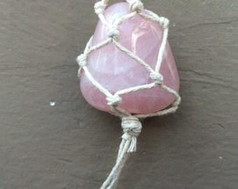 Hemp wrapped Rose quartz stone necklace!