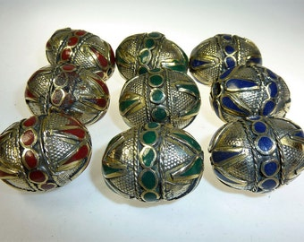 Tribal Metal Beads, Turkmen Gilet Metal-beads, Vintage, Set of 3 Beads, Afghan Brass Beads with Colored Inlays