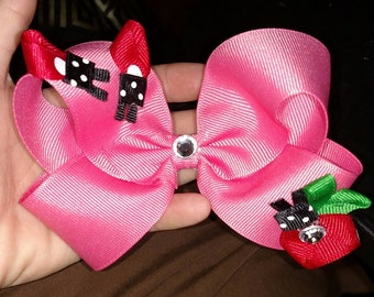New! Super Cute! Ladybug, Pink HairBows!