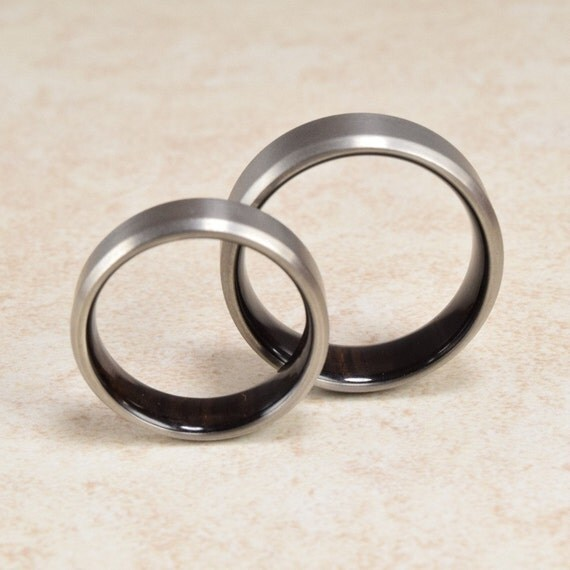 African Blackwood Bands: Titanium & African Blackwood Lined Ring // By ForeverWoodRings