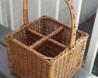 French Vintage wicker bottle carrier, 4 wine bottle carrier basket