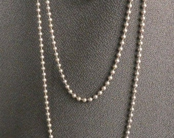 Sterling Silver beaded chain 48 in. long