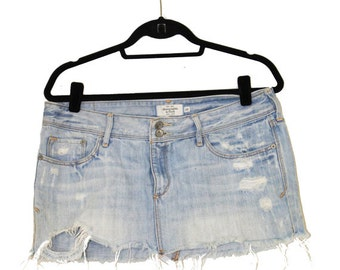 Vintage Denim Cut Off Skirt