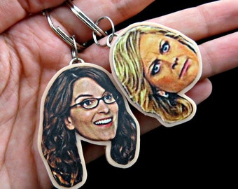 Amy poehler and Tina Fey keychains - celebrity keychains - BFF keychains - BFF gift - Christmas gift- Leslie Knope keychain - parks and rec