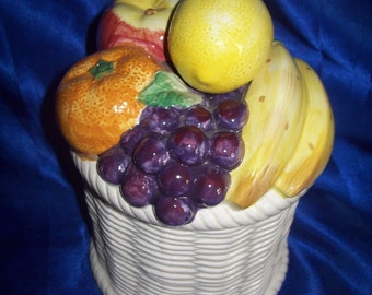 Hand-painted Fruit Lid on a Basket Patterned Porcelain Container