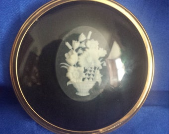 Round Domed Miniature Glass Cameo Plaque Basket of Flowers by Peter Bates
