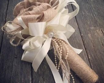 Handmade hessian flower girl  Bouquet/mini bridal bouquet