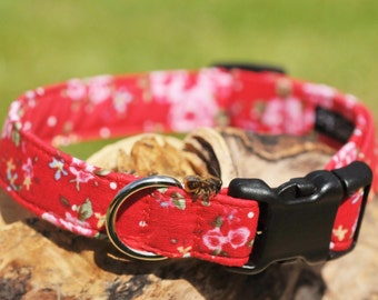 Red Vintage Rose, Cute Girl Designer Dog Collar