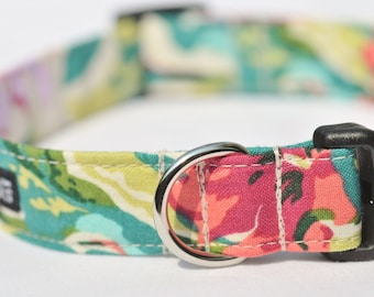 "Tropical ""Liberty of London"" Print with Green, Red & Purple Flowers, Designer Dog Collar"