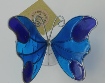 Suncatcher - Multi Coloured Stained Glass Effect Butterfly with Suction Cup