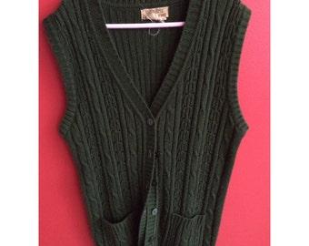 vintage green knitted vest