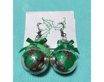 vintage christmas ornament earrings