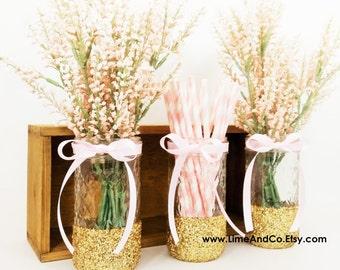 Baby Shower Centerpiece, Bridal Shower Decorations, Baby Shower Decorations, Wedding Centerpieces, Gold and Pink Decor, Glitter Jars 3