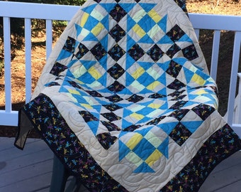 Quilt colorful dragonfly throw unique blue tan multi