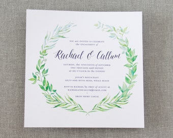 Printable Engagement Party Invitation, DIY Printable, Watercolour Laurel Positano